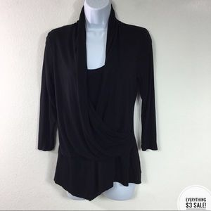JENNIFER LOPEZ BLACK FAUX WRAP TOP